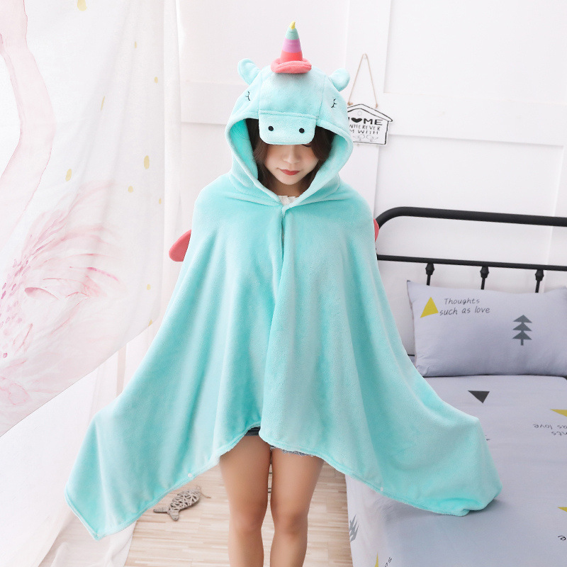 Unicorn Fleece Blanket Hooded Blanket Bed Sofa TV Throw Blankets Cartoon Hoodie Blanket Sweatshirt Christmas Gift for Children 5