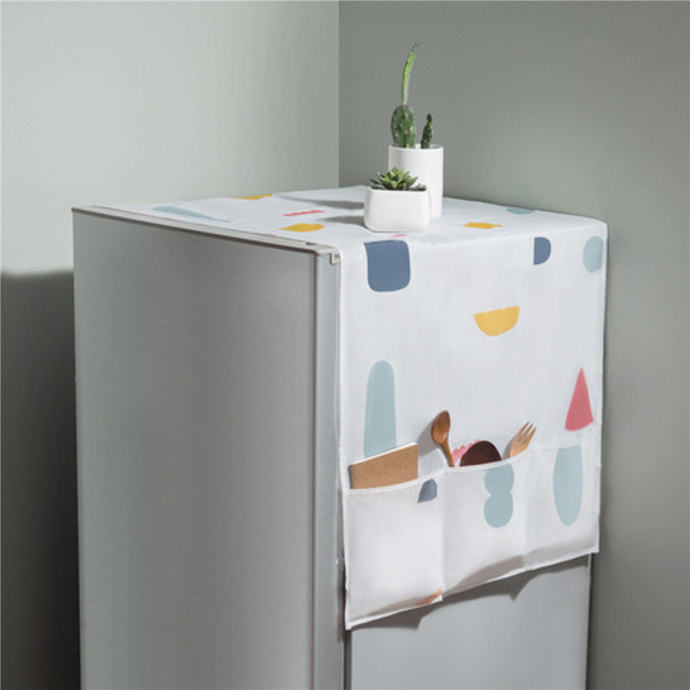 Refrigerator Printed Waterproof Cover Dust Cover Refrigerator Cover Mildew Freezer Top Storage Bag T image