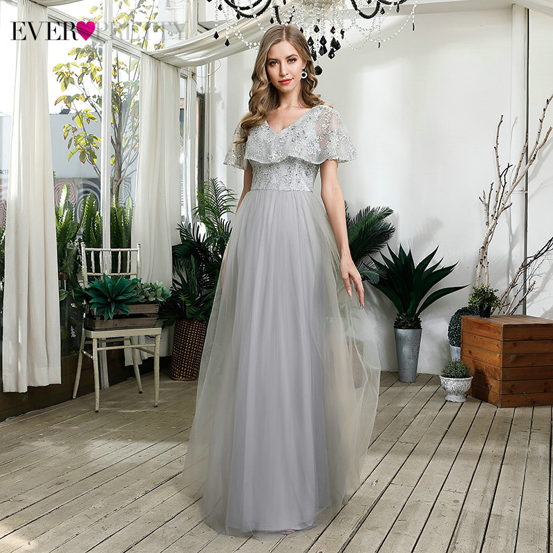 Elegant Grey Bridesmaid Dresses Ever Pretty A-Line V-Neck Sequined Ruffles Sleeve Embroidery Tulle Party Gowns Abiti Eleganti