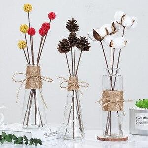 Image 2 - Jarrones de vidrio nórdico creativos decoración de mesa de sala de estar, transparente, agua, hidropónico, cuerda de flores, florero seco, botella Diy
