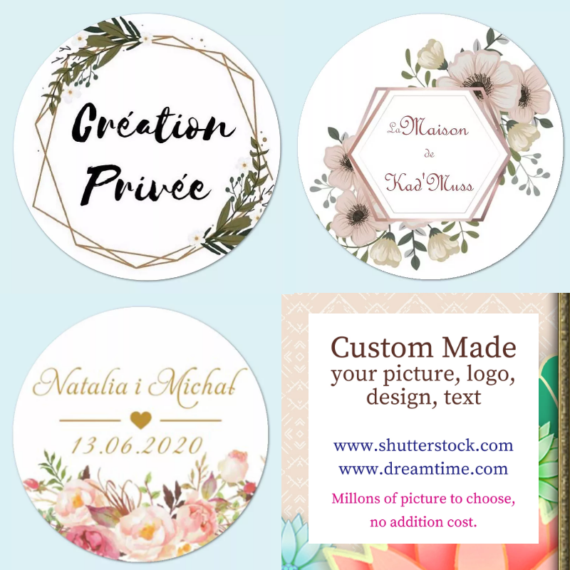 100 Pcs Custom Personalized, Wedding Stickers, Baby Shower Candy Favors Gift Boxes Labels, Birthday, Logo,  Photo Decoration