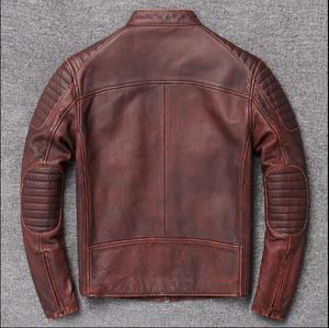Image 4 - Free shipping,Brand cowhide clothing,mens genuine leather clothes,fashion vintage motor biker jacket.cool warm coat,quality