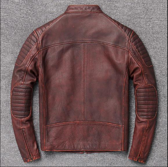 Image 5 - Free shipping,Brand new cowhide clothing,man's 100% genuine leather Jackets,fashion vintage motor biker jacket.cool warm coat-in Genuine Leather Coats from Men's Clothing