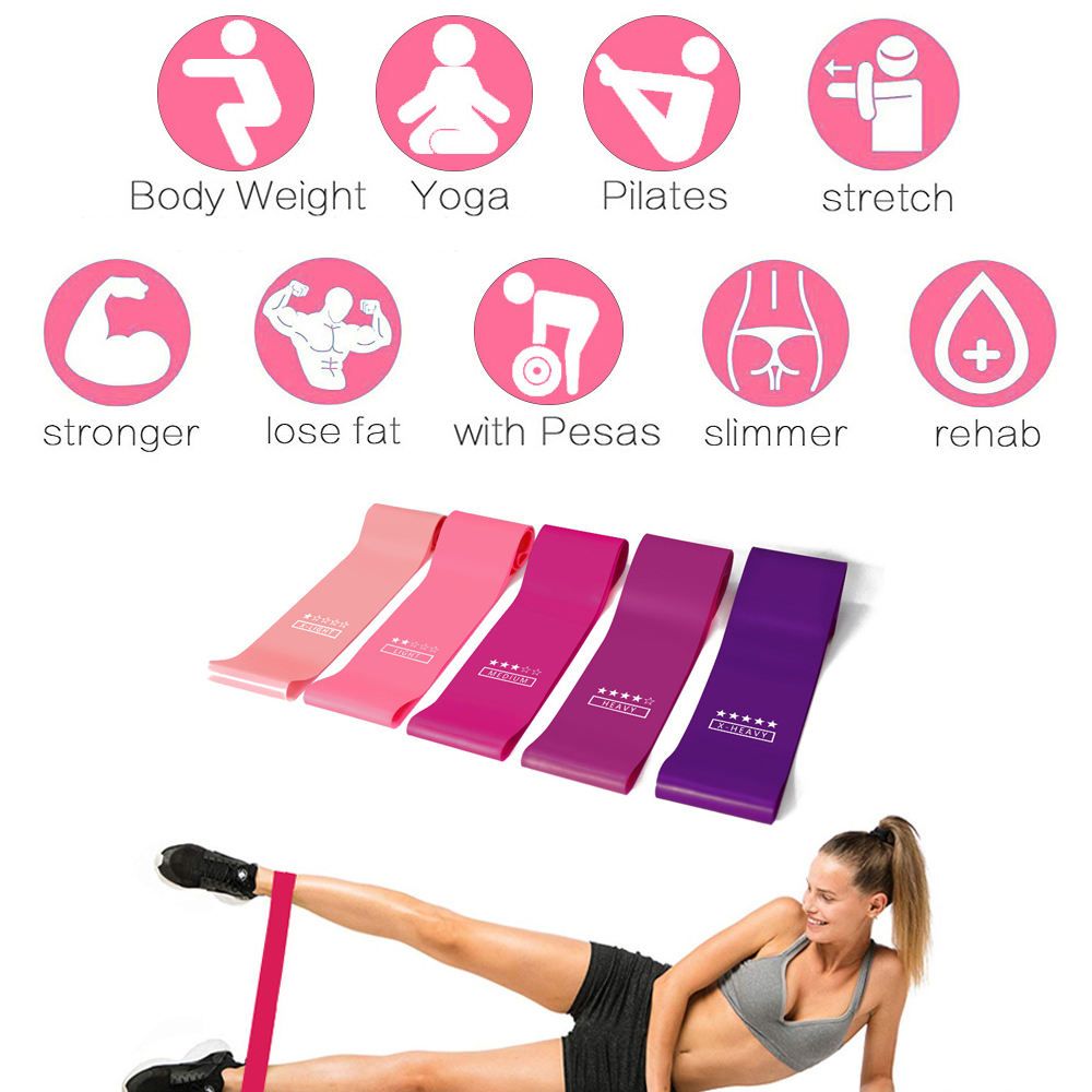 7PC Training Fitness Gym Exercise Gym Strength Resistance Bands Pilates Sport Rubber Fitness Elastic Bands Workout Equipment