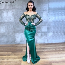 Serene Hill Dubai Green Long Sleeves Sexy Evening Dress 2020 Mermaid Satin Crystal Formal Party Wear Gown Design CLA70343