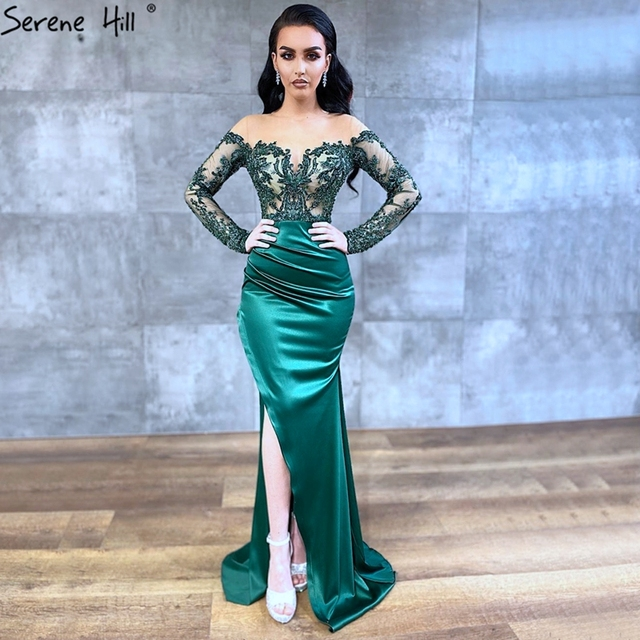Serene Hill Dubai Green Long Sleeves Sexy Evening Dress 2020 Mermaid Satin Crystal Formal Party Wear Gown Design CLA70343