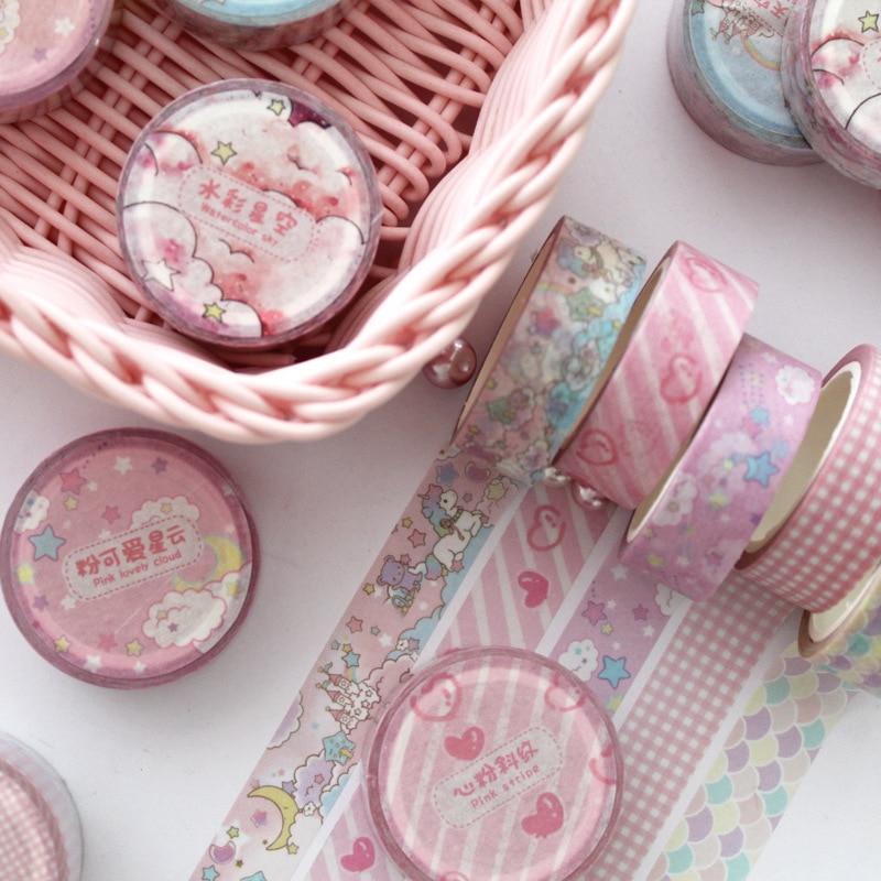 Mohamm Washi Tape Japanese Stationery Kawaii Pink Masking Tape Cute Scrapbooking Girl Gift Decoration School&Office Supplies