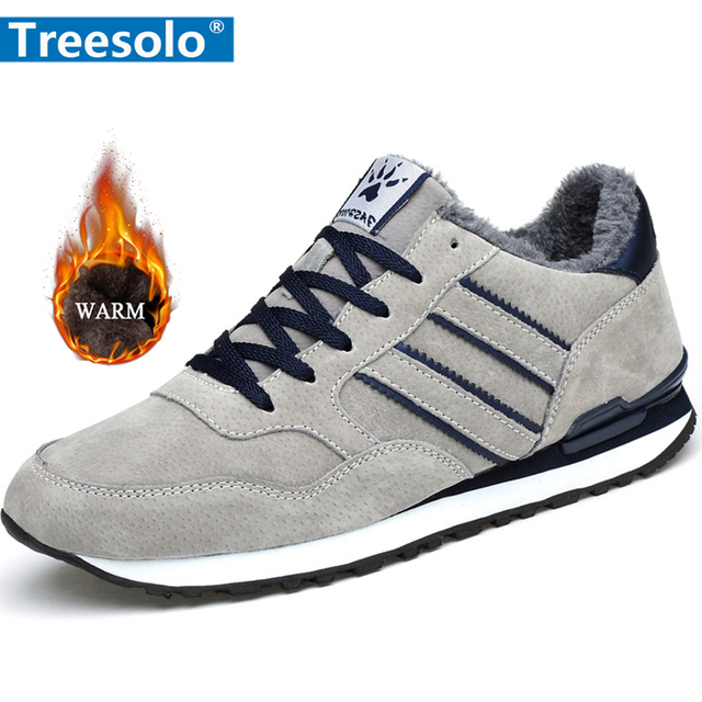 Anti-Slip Waterproof Sports Shoes Men Shoes color: dark blue|Dark Blue Plush|Grey|Grey Plush
