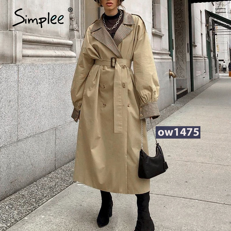 Simplee Causal light tan autumn women trench coat Split joint elegant long sleeve coat Plaid long coat with belt windbreaker|Trench| - AliExpress