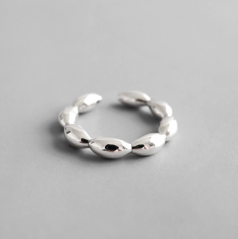 NS 925 Sterling Silver Open Rings Minimalist Geometric Beads Smooth Surface Adjustable Finger Rings Silver Jewelry
