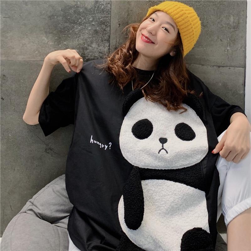 Cute Cartoon Panda Print Tops Loose Fit Tees Short Sleeve T-shirt Women Large Size O Neck Casual Tshirt White Kawaii Tee Shirts