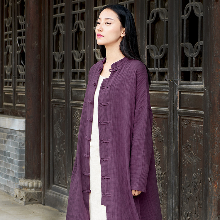 2020 Women Midi Coat Top Chinese Style Retro Jacquard Elegant Loose Lady Warm Trench Coat Female Traditional Chinese Clothing