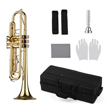 TR-100 B flat Standard Student Trumpet Bb Key Brass Gold Lacquer Trumpet with Case Straps 7C Mouthpiece Gloves Cleaning Cloth