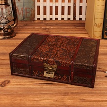 Joyero de almacenamiento de madera caja de madera Vintage con embalaje de regalo de boda decoración de escritorio Manual