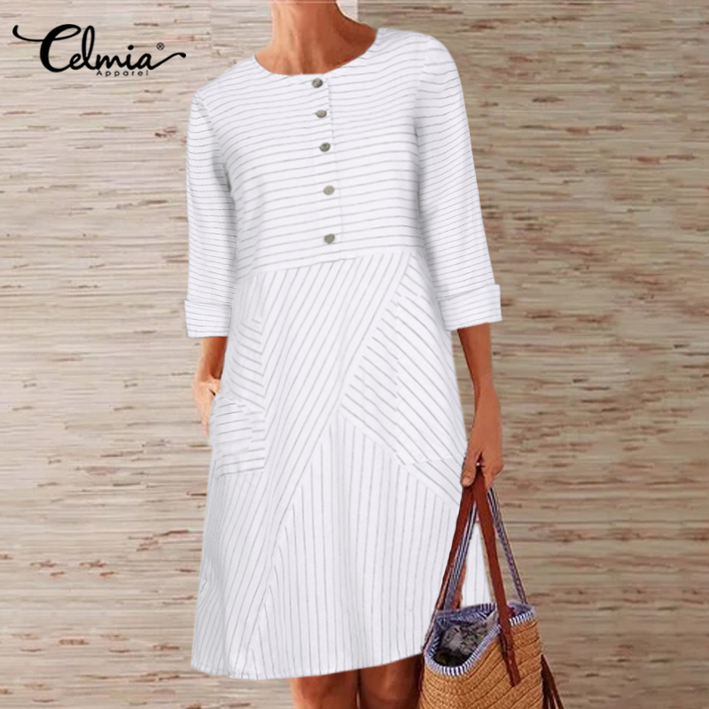 Vintage Women Striped Shirt Dress Celmia 2019 Autumn Long Sleeve Office A-line Dress Casual Loose Button Female Vestidos S-5XL 7