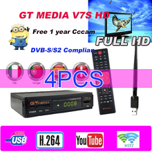4pcs GTMedia V7s HD Satellite Receiver DVB-S2 H.265 Built-in WiFi with 1 Year Spain Europe Cccam v7s hd pk freesat v8 nove tvboX