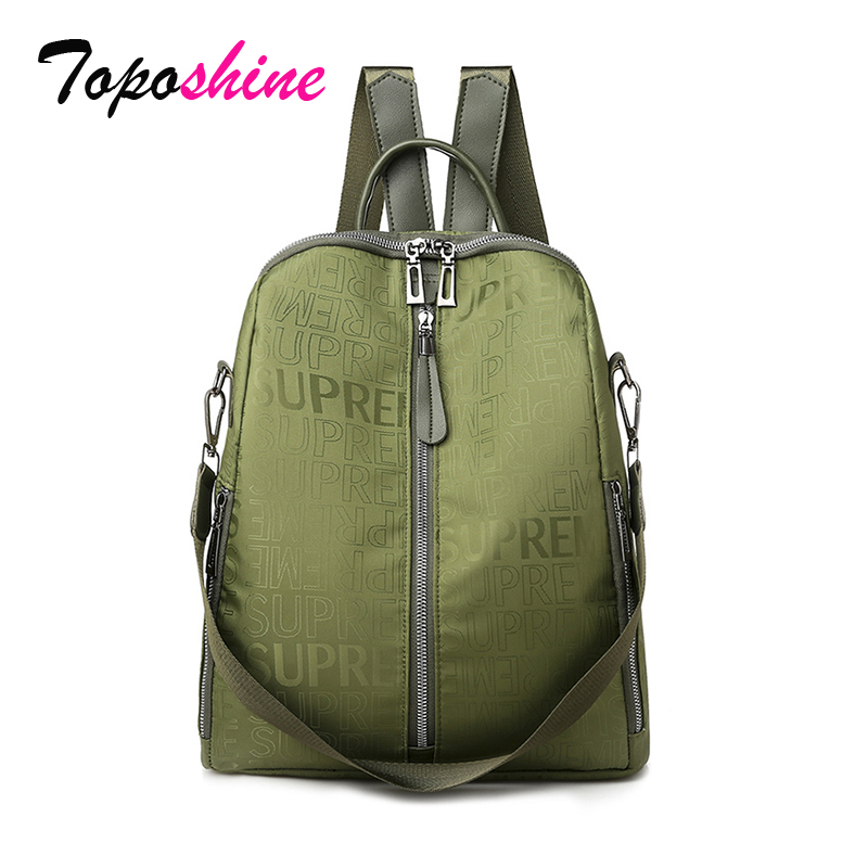 Toposhine Multifunction Women Backpacks Letter Print Women Shoulder Bags Hot Ladies Backpack Girls School Bag Popular Green Bags