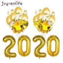 купить 2020 Happy New Year Balloons Gold Foil Latex Confetti Balloon New Year eve decor 2019 Christmas Decorations Globos Navida natal по цене 183.02 рублей