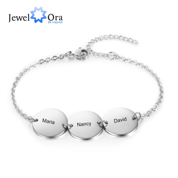 JewelOra Personalized Stainless Steel Round Discs Engraved Bracelets for Women Customized 3 Names Friendship Bracelets & Bangles