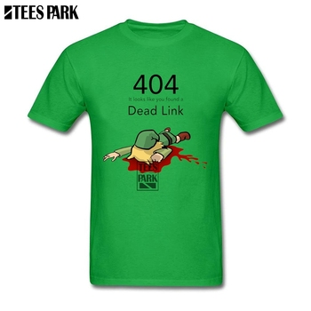 Funny T Shirt Tops Error 404 Zelda Dead Link Mens White t shirts Teenage Crew Neck Tee Geek Vintage Quotes