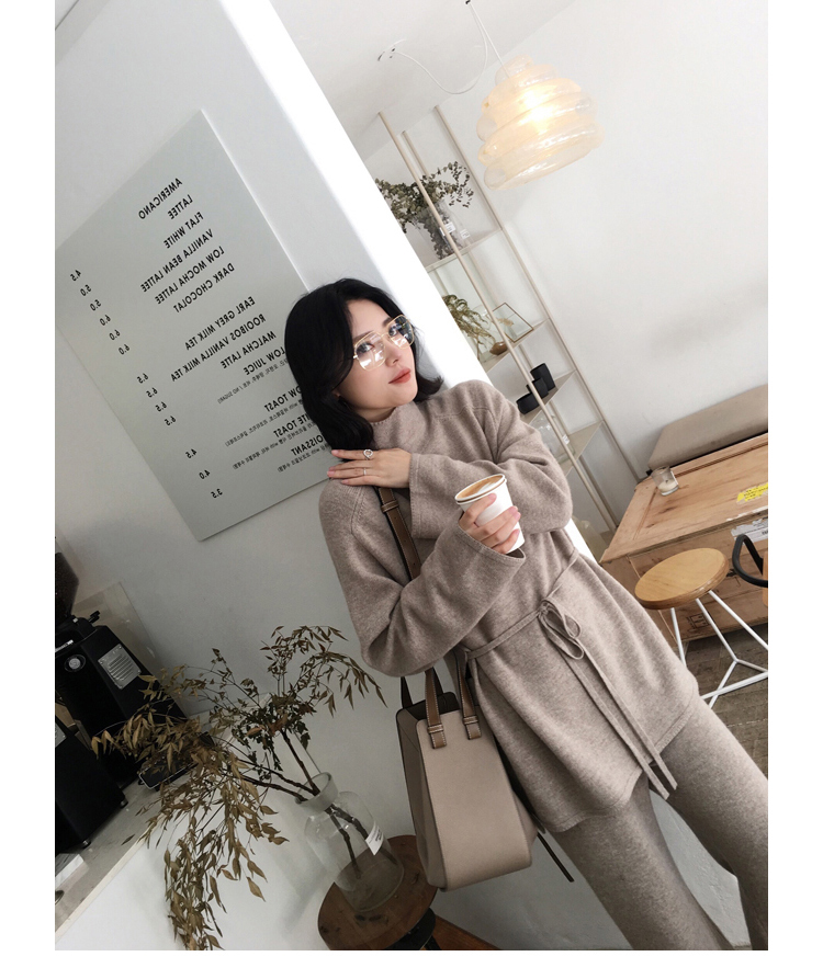 Plus Size Knitted 2 Piece Sets Outfits Women Turtleneck Pullover Sweaters And Wide Leg Pants Suits Autumn Winter Elegant Sets 36