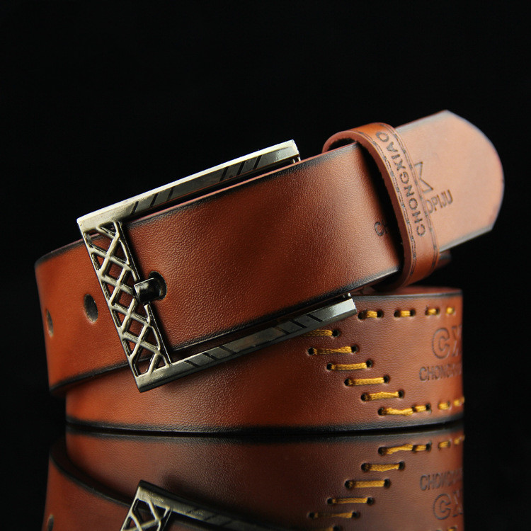 Threaded Fashion Men's Pin Buckle Belt Student Cowboy Versatile Antique Casual Belt