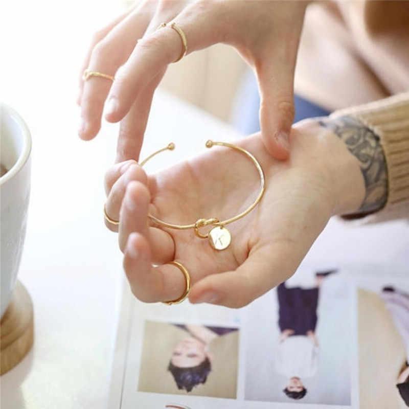 2019 จดหมายเริ่มต้นสร้อยข้อมือผู้หญิง Rose Gold/Silver Bow-Knot Charm สร้อยข้อมือแฟชั่นชื่อเครื่องประดับหญิง