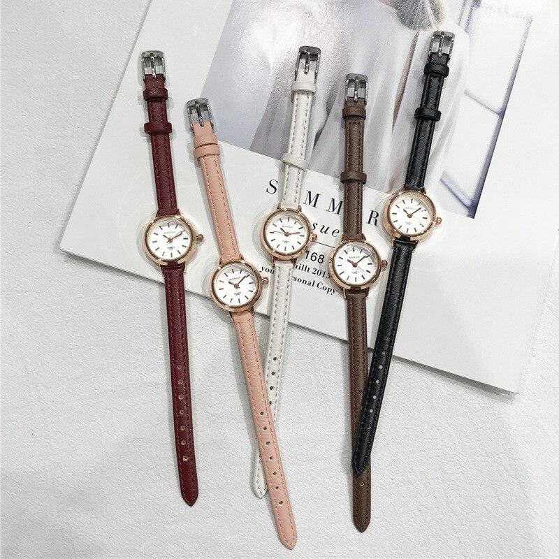 Women's Fashion Small Watches Vintage Leather Elegant Ladies Quartz Wristwatches Simple Female Watch Casual Retro Woman Clock