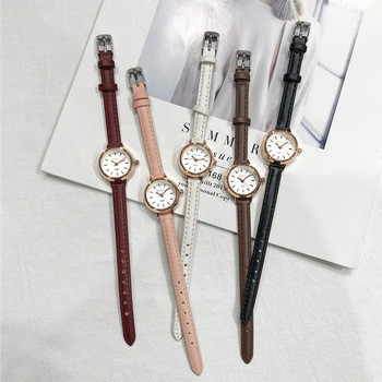 Women's Fashion Small Watches Vintage Leather Elegant Ladies Quartz Wristwatches Simple Female Watch Casual Retro Woman Clock ulzzang fashion brand women bracelet watches retro brown vintage leather watch female quartz clock casual ladies wristwatches