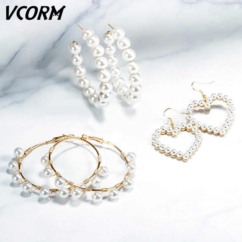 VCORM Drop-Earrings Jewelry Elegance Statement Fashion Party Natural-Freshwater-Pearl
