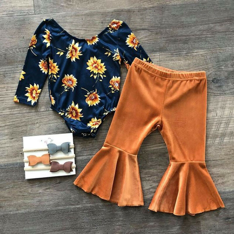 Baby Girl Clothes Newborn Infant Autumn 2Pcs Set Cotton T-shirt Pants Headband Fall Outfits Clothes Baby Girls Clothing Suit