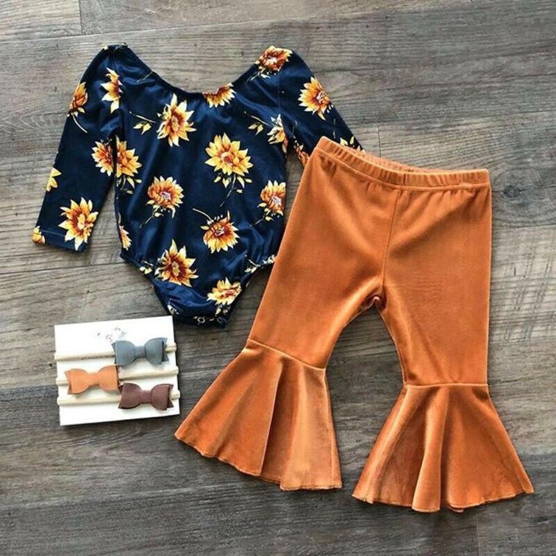 Conjunto de 2 pçs para bebês meninas, roupas de outono para recém-nascidos, bebês, meninas, conjunto de algodão, camiseta, calça, tiara, roupas de outono