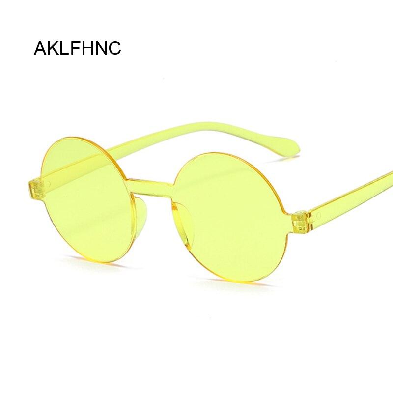 Summer Round Rimless Sunglasses Women Transparent Shades Sun Glasses Female Cool Candy Color UV400 Eyewear Oculos De Sol