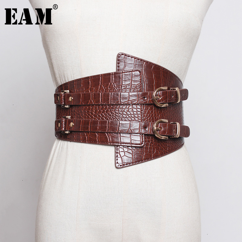 [EAM]  Pu Leather Black Multicolor Asymmetrical Wide Belt Personality Women New Fashion Tide All-match Autumn Winter 2020 1H230