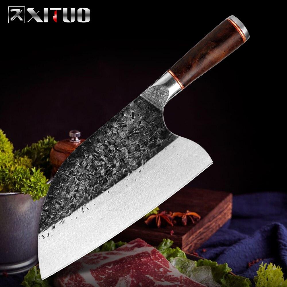 XITUO кухонный нож шеф-повара, китайский ручной Кованый острый нож для мяса, антипригарный профессиональный нож для овощей, ручка из черного д...