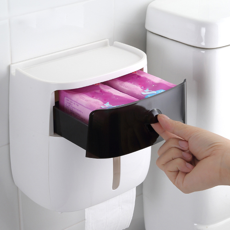 Image 3 - Waterproof Toilet Paper Holder Plastic Paper Towels Holder Wall Mounted Bathroom Shelf  Storage Box Portable Toilet Roll Holder
