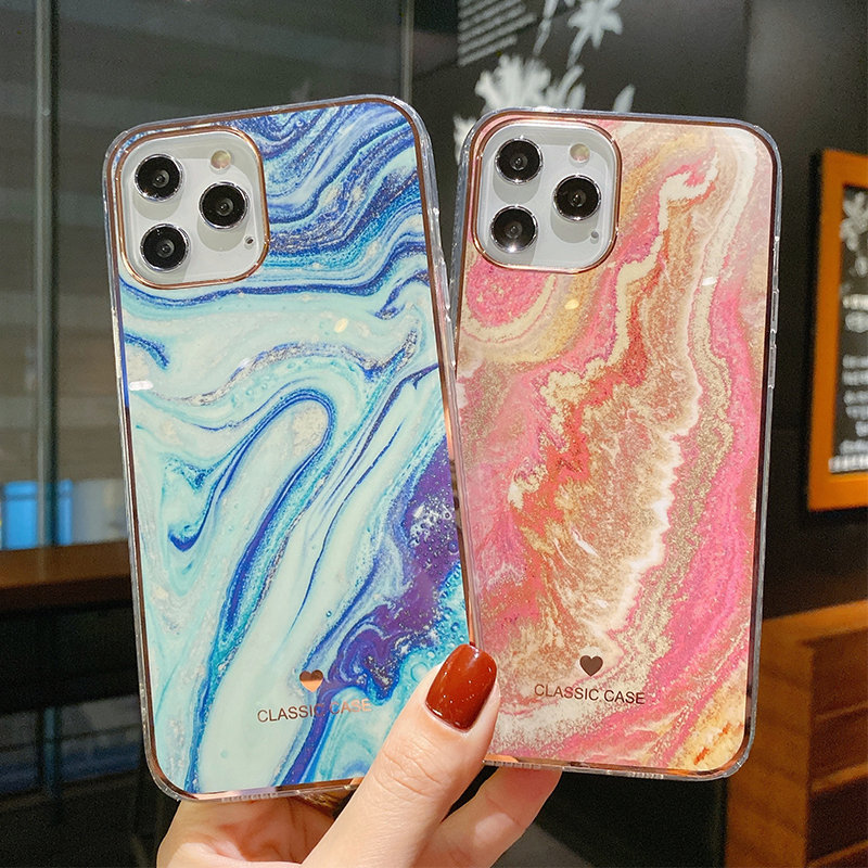 Glitter Gradient Marble Texture Phone Case Cellphones & Telecommunications iPhone Cases/Covers Mobile Phone Accessories Phone Covers