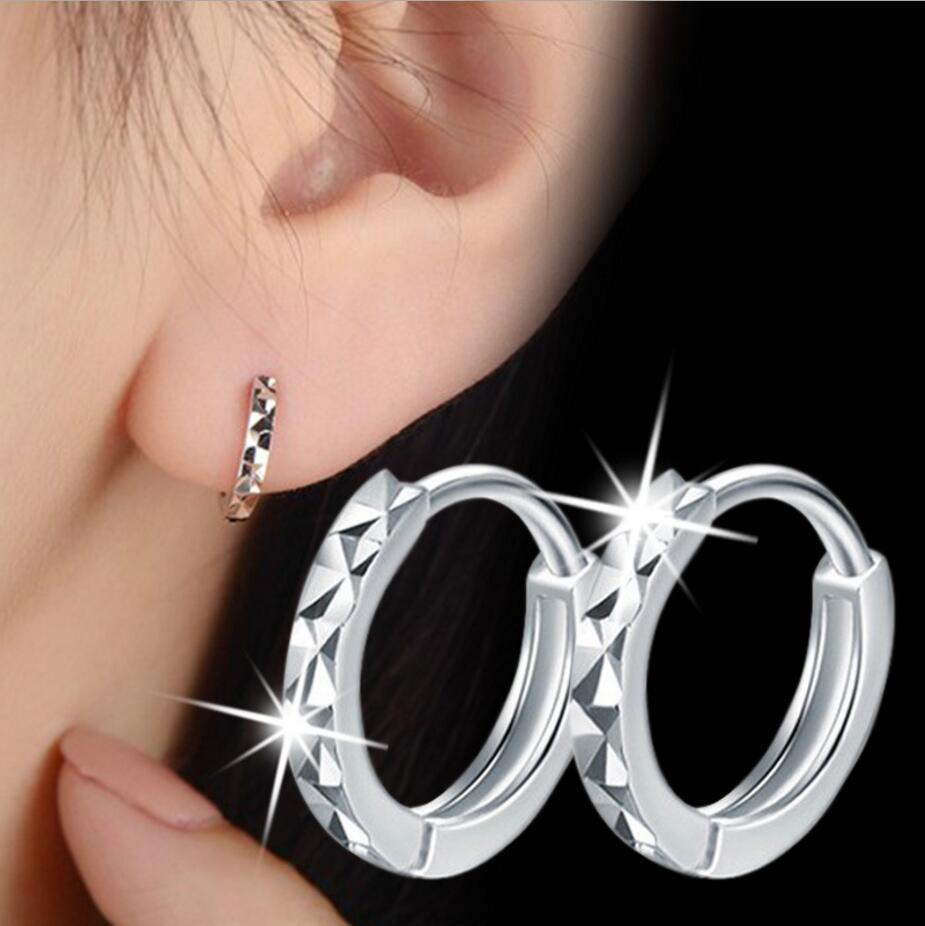 925 Sterling Silver Cut Arrow Mini Loop Huggies Circle Small Hoop Earrings For Women Mens Children Girls Kids Jewelry Aros Artes