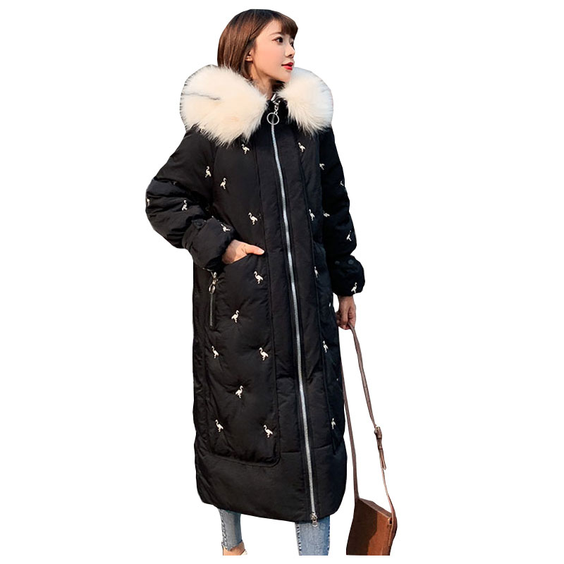 Chic Fur Coat Hooded Winter Down Coat Warm Jacket Long Women Cotton Padded Wadded Parkas Crane Embroidered Female Jacket