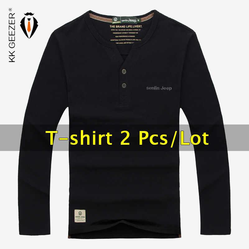 2 pçs/lote Shirt Dos Homens T-shirt 100% Algodão de Manga Longa Com Decote Em V Outono Topos de Moda de Alta Qualidade Da Marca Casual Mens Camiseta Homme tees