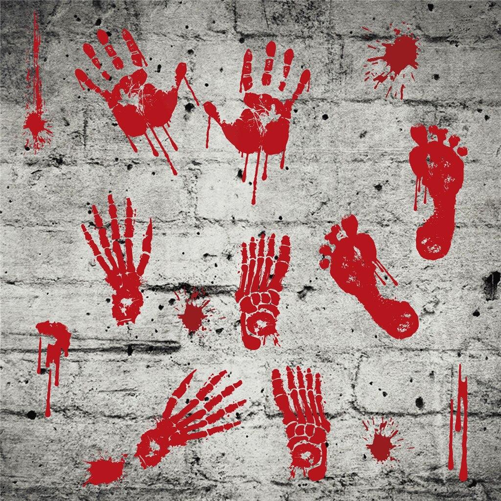 Bloody Footprint and Blood SpatsjokePrankhalloweenDecoration