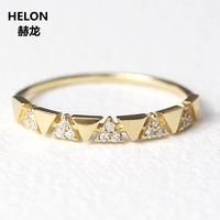 Solid 14k Yellow Gold Natural Diamonds Engagement Wedding Ring for Women Unique Design Fine Jewelry Trendy
