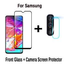 2 в 1 Защитное стекло для samsung Galaxy A70 A50 A40 A30 A20 M20 с Защита для экрана камеры Защитная пленка для объектива закаленное стекло