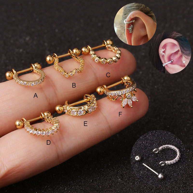 Feelgood 10pcs/lot 20g Stainless Steel Barbell With Cz Hoop Cartilage Helix Snug Conch Earring Ear Piercing Jewelry Wholesale