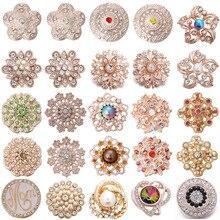 6 шт./лот, новинка, оснастка, ювелирное изделие, 18 мм, кнопки, смешанные, розовое золото, кристаллы, стразы, цветы, металлические защелки для браслета на кнопке