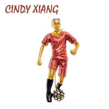 CINDY XIANG 4 Colors Enamel Football Player Brooch Vivid Design Sport Man Brooch Pin Fashion Jewelry Good Gift cindy xiang blue shark brooch women and men brooch pin unisex enamel brooches vivid animal jewelry badages fashion accessories