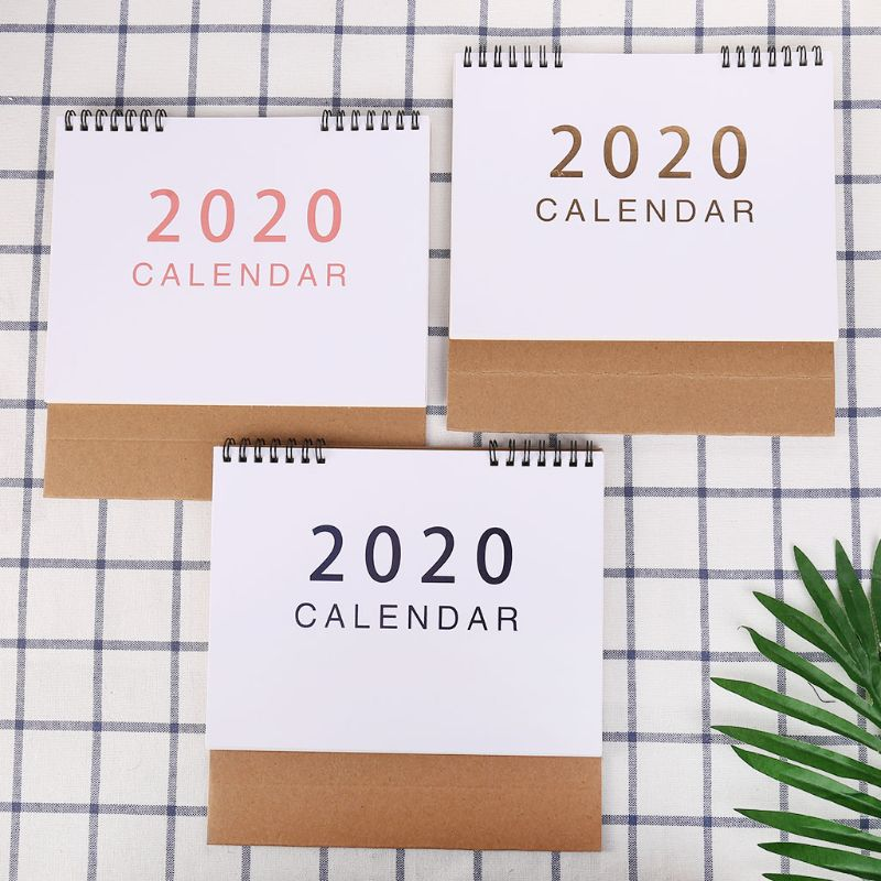 Simple Desktop Standing Paper 2020 Double Coil Calendar Memo Daily Schedule Table Planner Yearly Agenda Desk Organizer LX9A