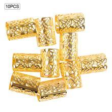 10Pcs/Lot Adjustable Golden Kids Women Box Hair Dread Braids Dreadlock Beads Cuffs Clips Micro Ring Accessories цены онлайн