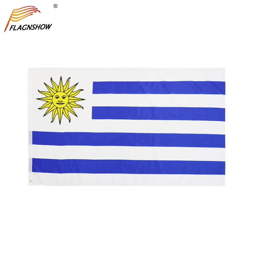 Flagnshow Uruguay Flag 3X5 FT Hanging Uruguayan National Flags Polyester Free Shipping for Decoration