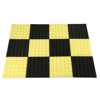 Acoustic Foam,Acoustic Foam Panels,Soundproofing Foam,Acoustic Panels,Studio Foam 2 inchX12 inchX12 inch (12Pack) Black+Yellow